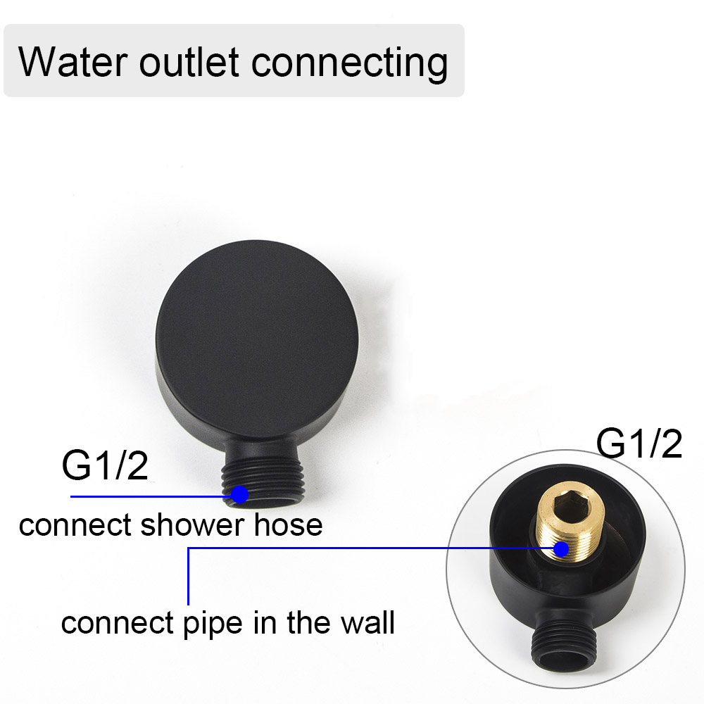 Ella Black Wall Mounted Brass Shower Set Mixer 8/10/12 Inch Shower HeadElla Black Wall Mounted Brass Shower Set Mixer 8/10/12 Inch Shower Head