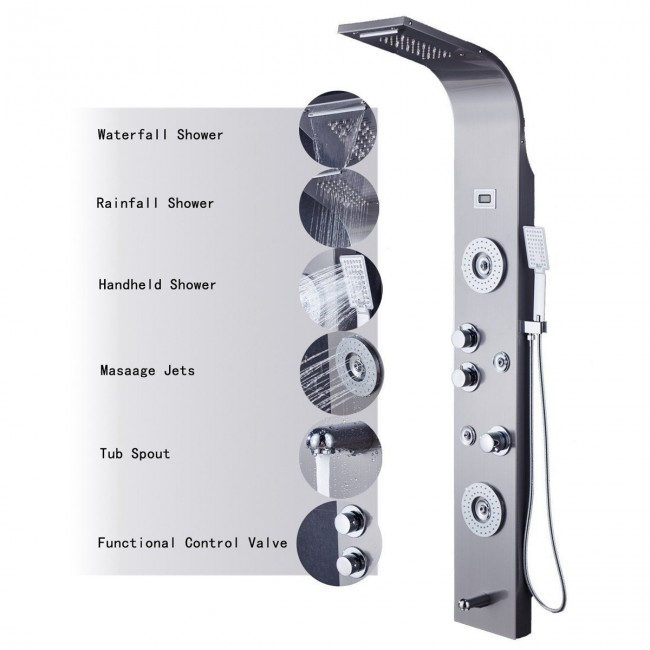 Fingerprint-Free LED Rainfall Waterfall Shower Head 6-Function Faucet with Body Jets