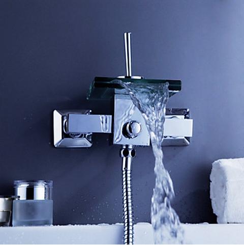 Glass Waterfall Wall Mounted Bathroom Faucet