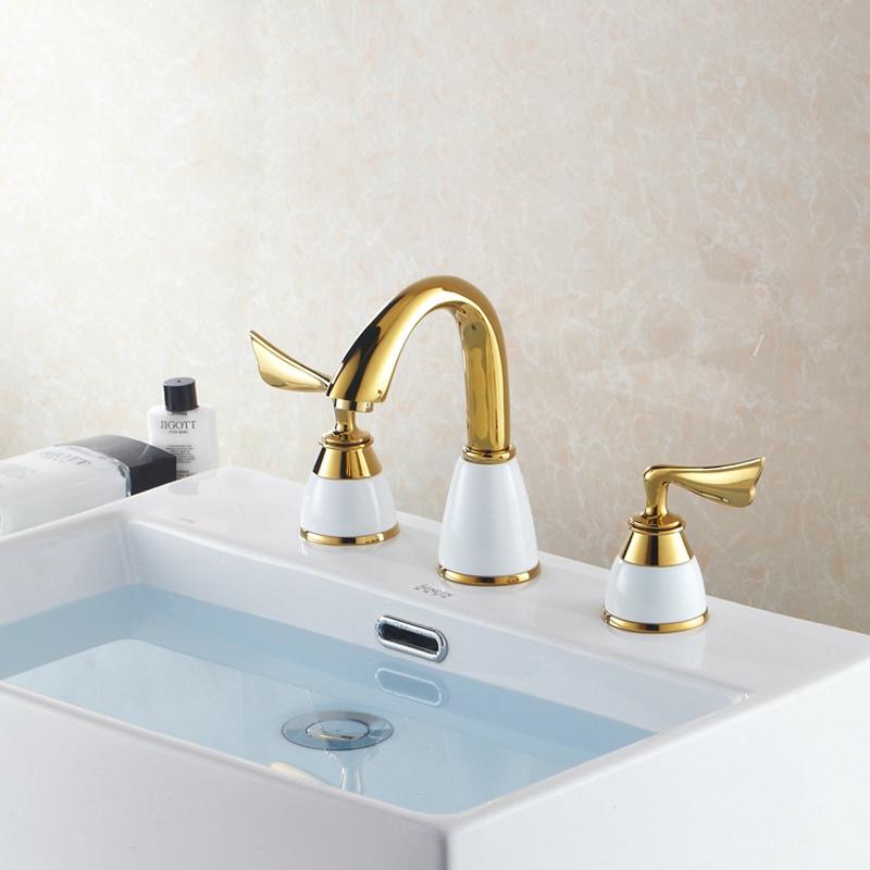 Gold Brass Double Handle Bathroom Mixer Faucet