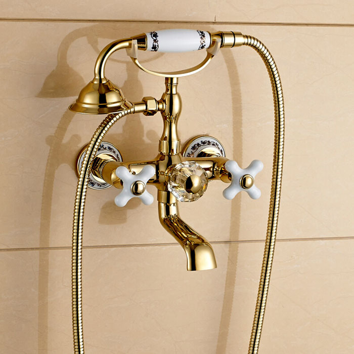 Gold Claw Foot Wall Mount Tub Faucet with Handheld Sprayer