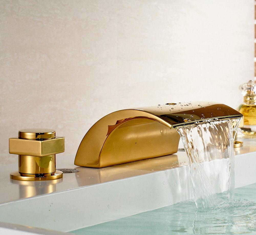 waterfall bath-tub faucet gold finish