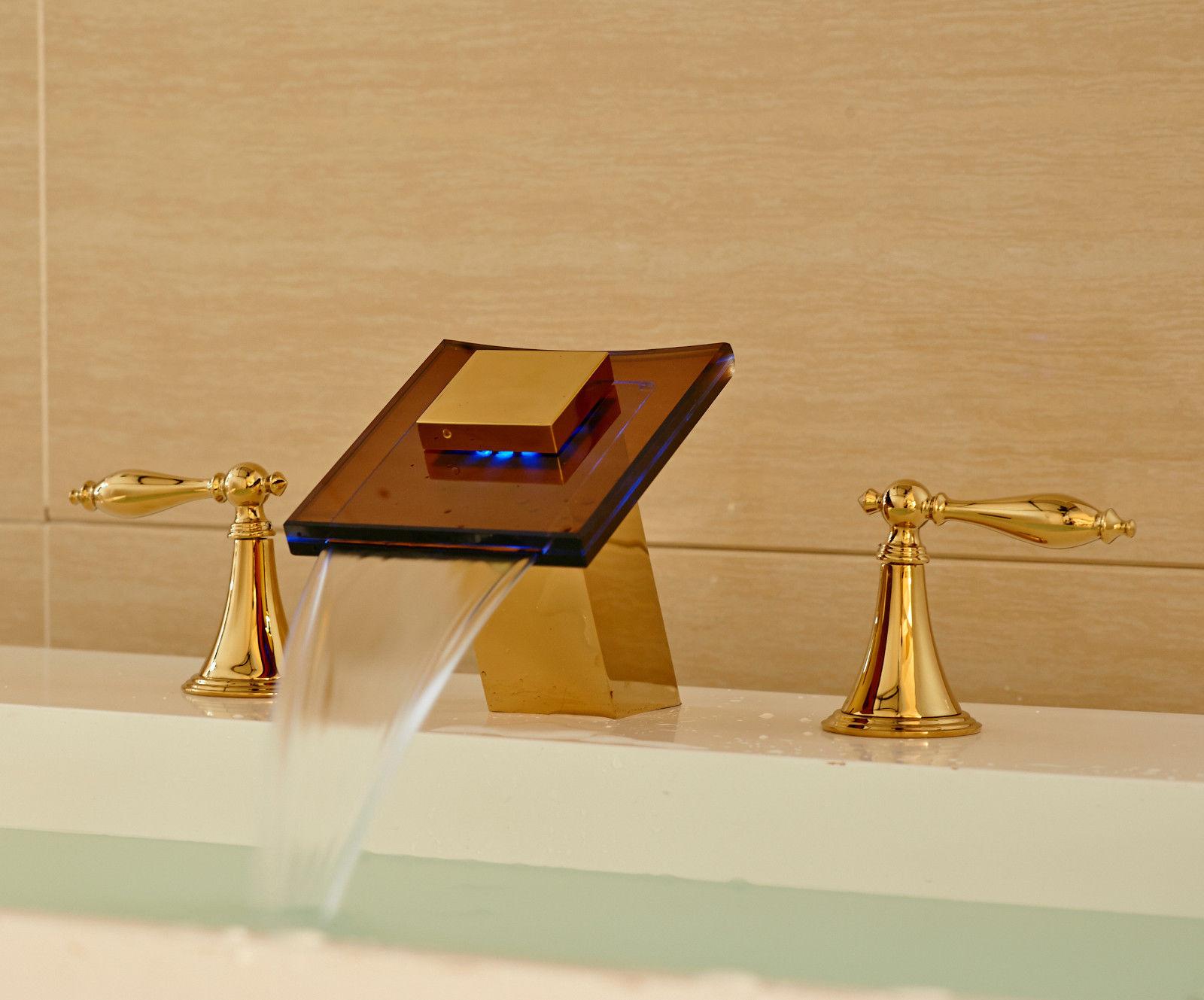 Glass Spout Bathroom Sink Faucet Gold Finish