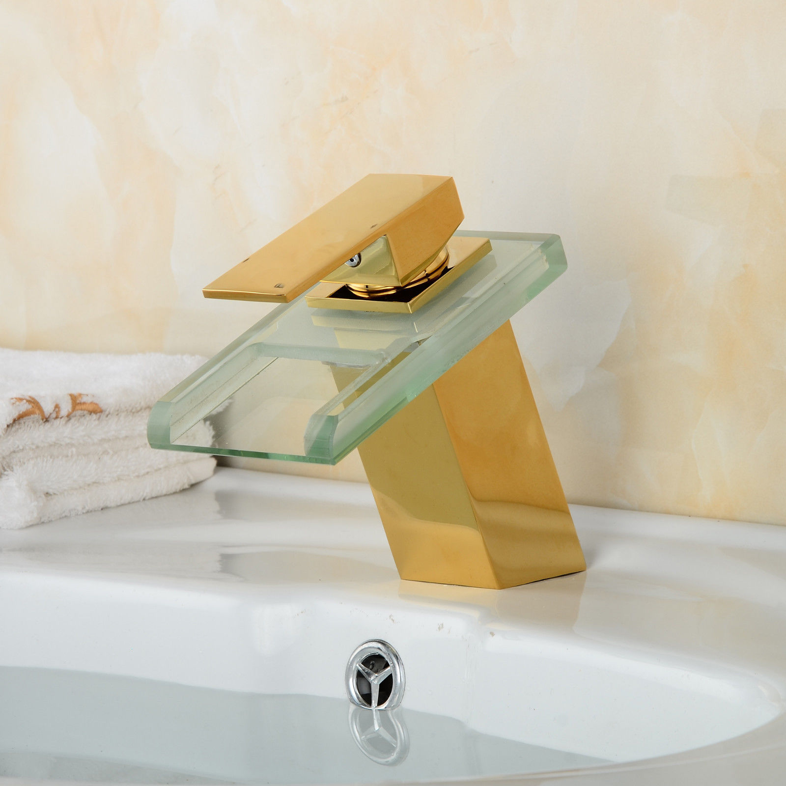 LED Waterfall Gold Finish Bathroom Sink Faucet