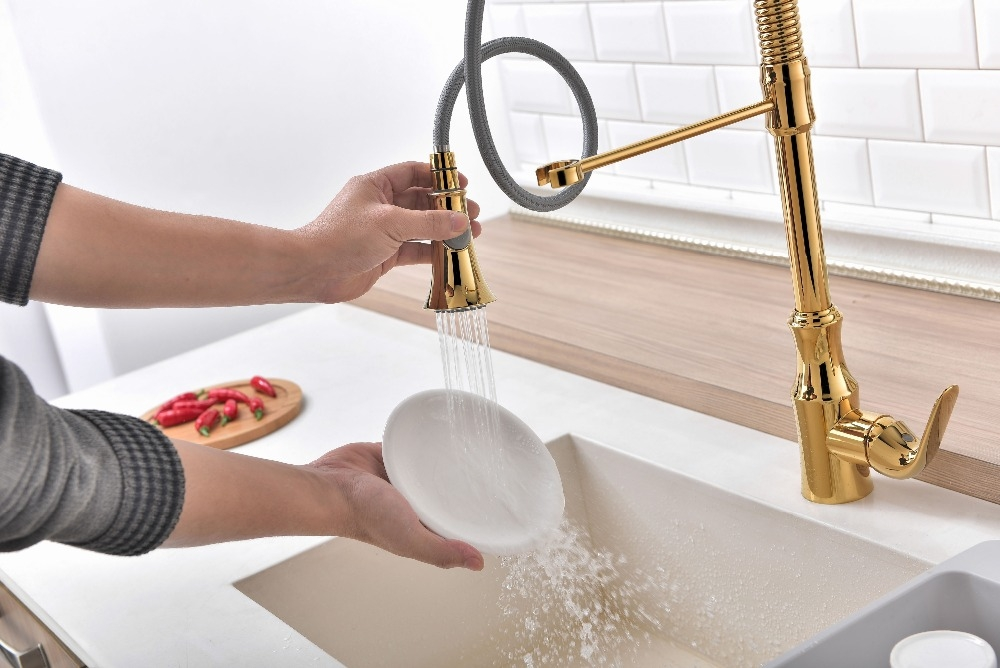 Gold Deck Mounted Pull Out Kitchen Faucet