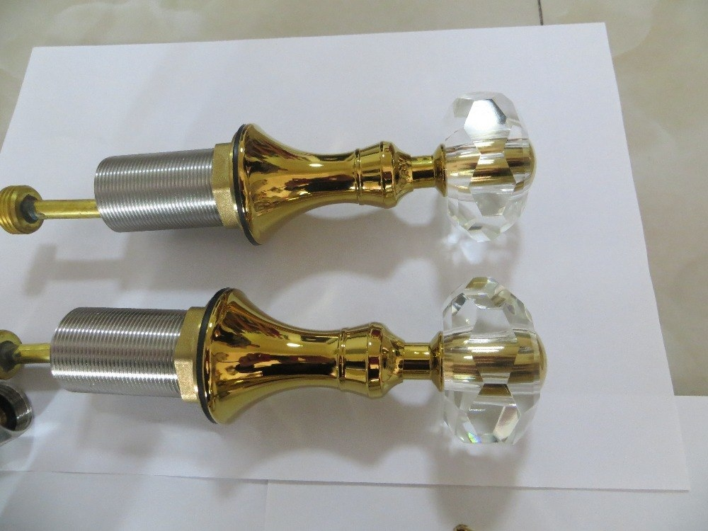 Gold Dolphin Dual Crystal Handle Deck Mount Bathroom Faucet