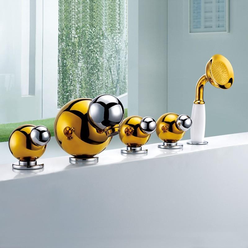 Gold Finish Bathroom Faucet Mixer