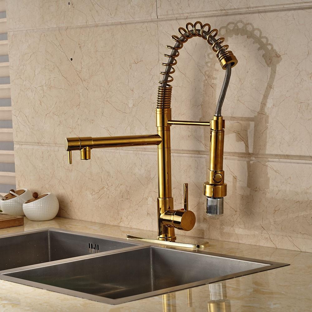 Gold Finish LED Kitchen Faucet