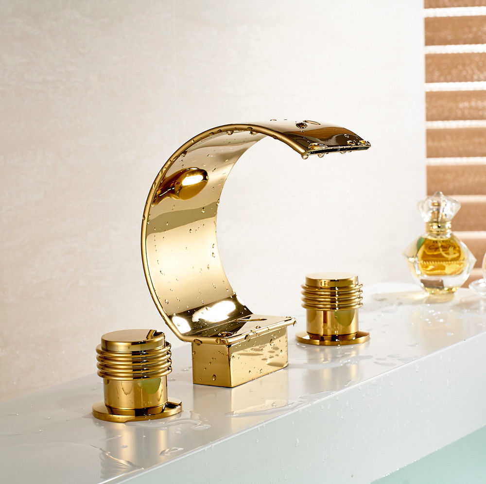 Gold Finish Waterfall Roman Tub Faucet