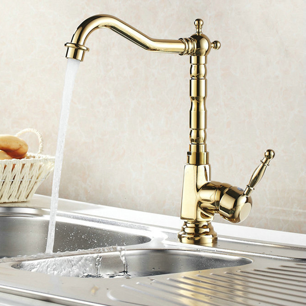 Gold Chrome Finish Kitchen Faucet