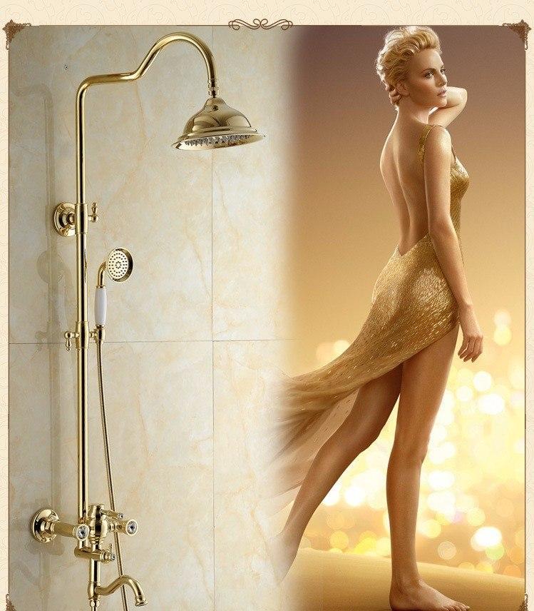 Gold Polished Large Bathroom Shower with Hand-Held Shower