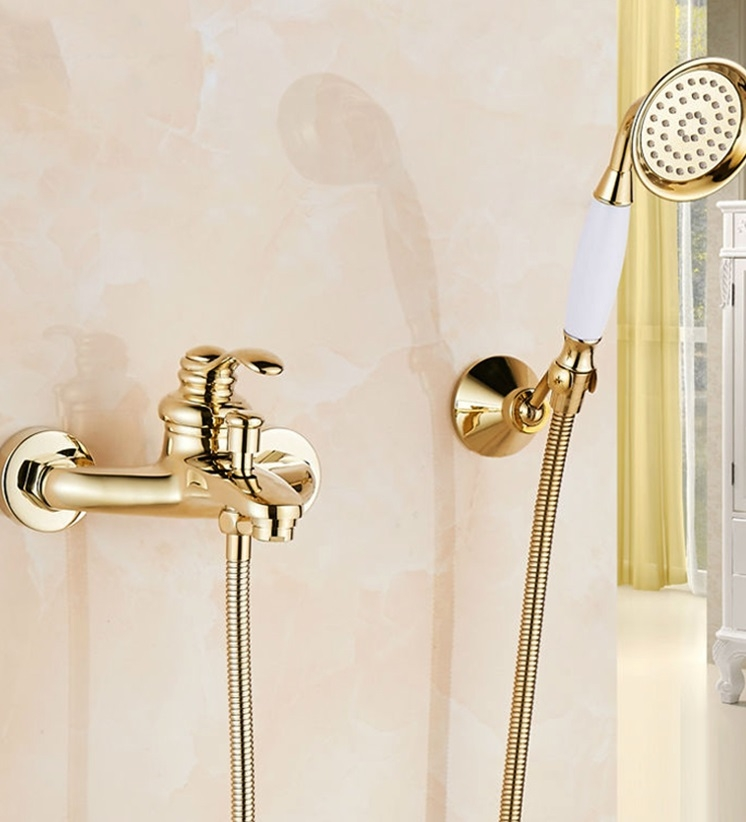 Gold Polished Single Handle Wall Installation Bathtub Faucet with Handheld Shower