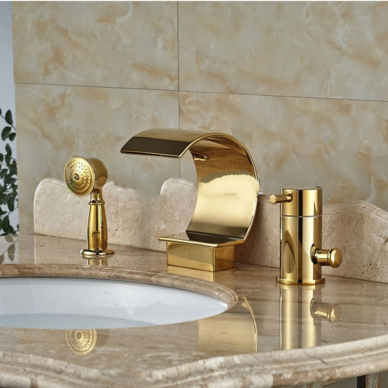 Gold Single Handle 3 Pieces Widespread Waterfall Bathroom Faucet