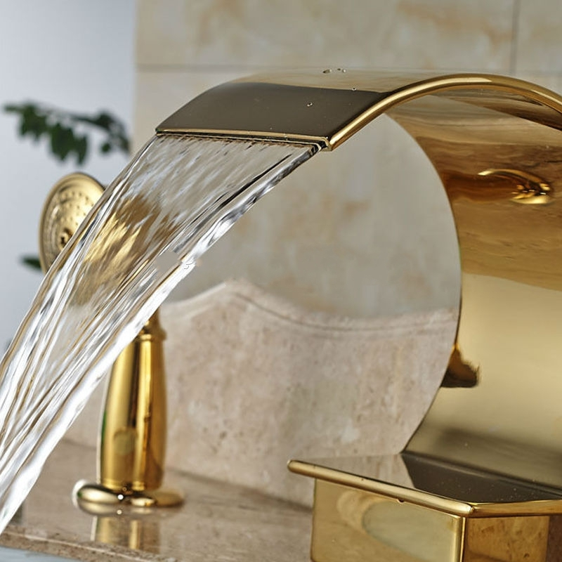 Gold Single Handle 3 Pieces Widespread Waterfall Faucet