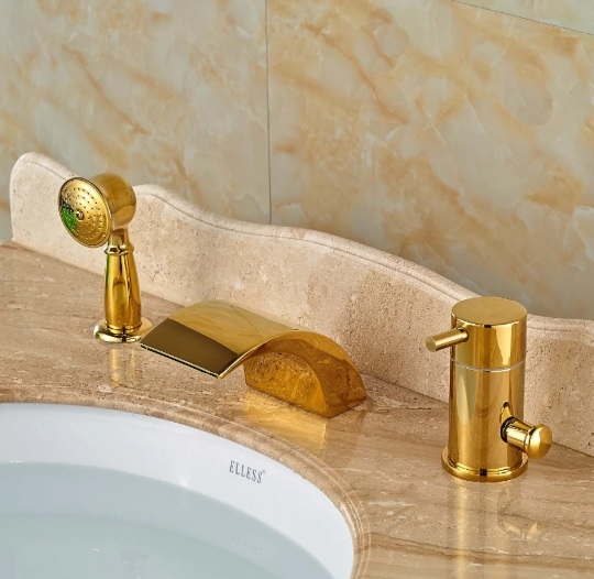 Gold Wide LED Waterfall Deck Mount Waterfall Faucet with Hand Shower