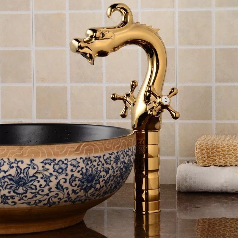 Golden Dragon Hot & Cold Water Bathroom Sink Faucet