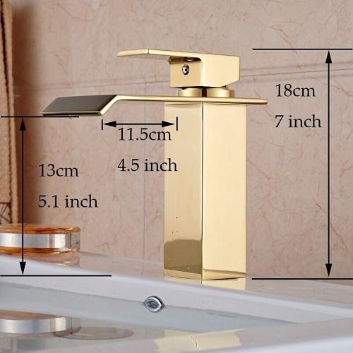 Golden Single Handle Basin Sink Faucet