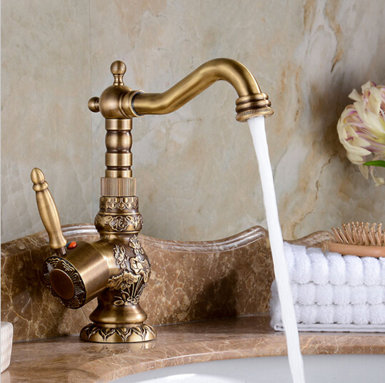 Raleigh High Quality Luxury Antique Bronze Copper Sculptured Deck mounted Bathroom Sink Faucet