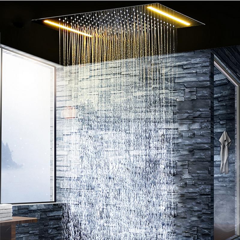 Ceiling Mounted Electric LED Chrome Rainfall Bathroom Shower
