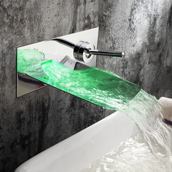 Brass Chrome Finish Contemporary Wall Mounted Led Bathroom Sink Faucets