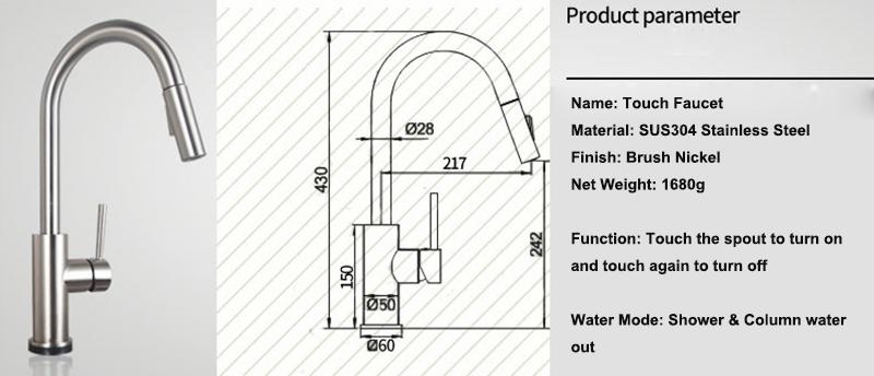 Cusco Long Neck Kitchen Pull Out Sensor Faucet