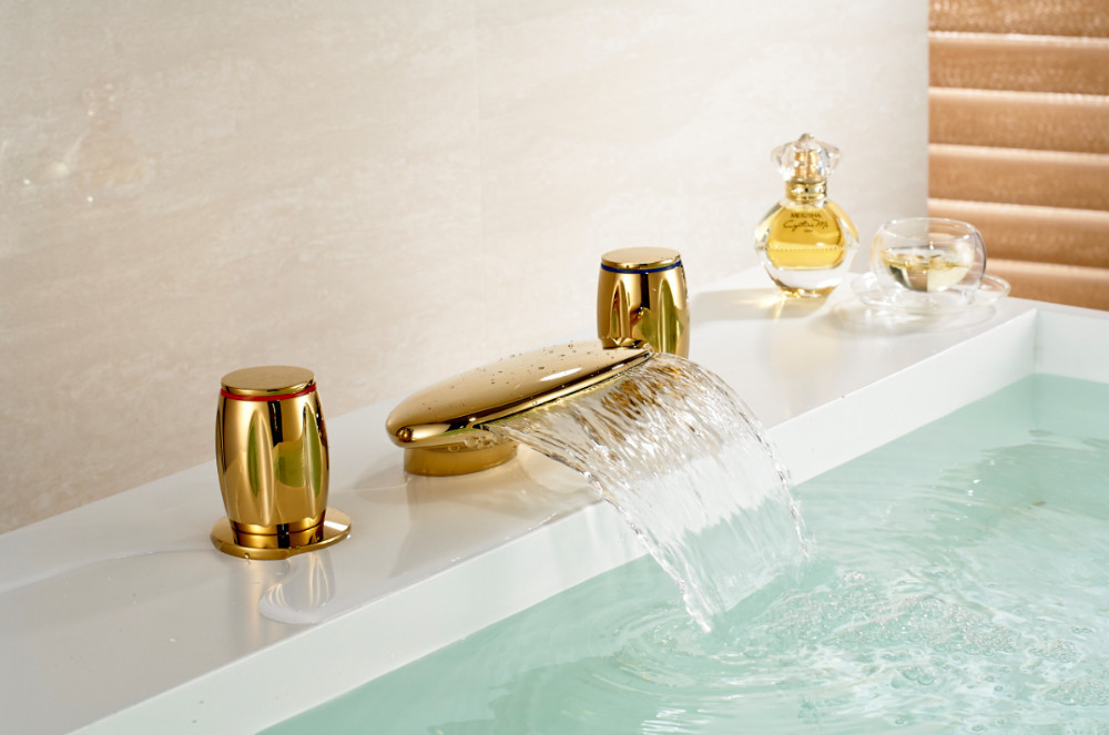 Vienna Gold Dual Handle Waterfall Bathroom Sink Faucet