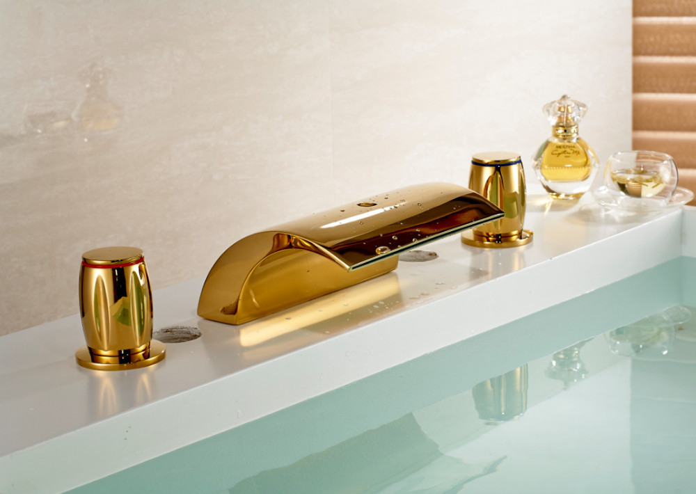Buenos Gold polished Bathroom Sink Faucet And Mixer Tap for Bathtub