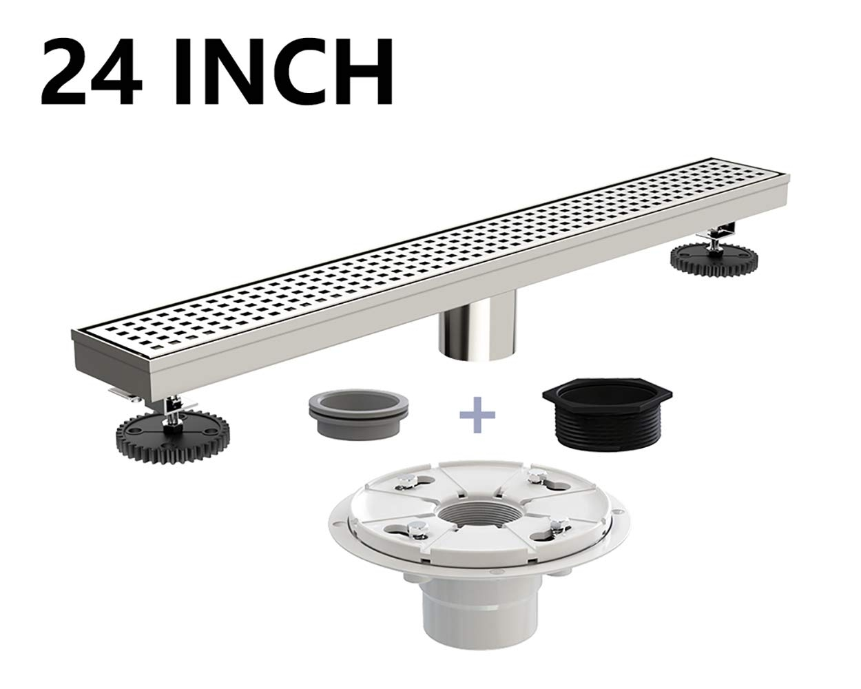 Juno 24 Inch Linear Drain for Shower with Shower Drain Base, Grate Cover Linear Floor Drain