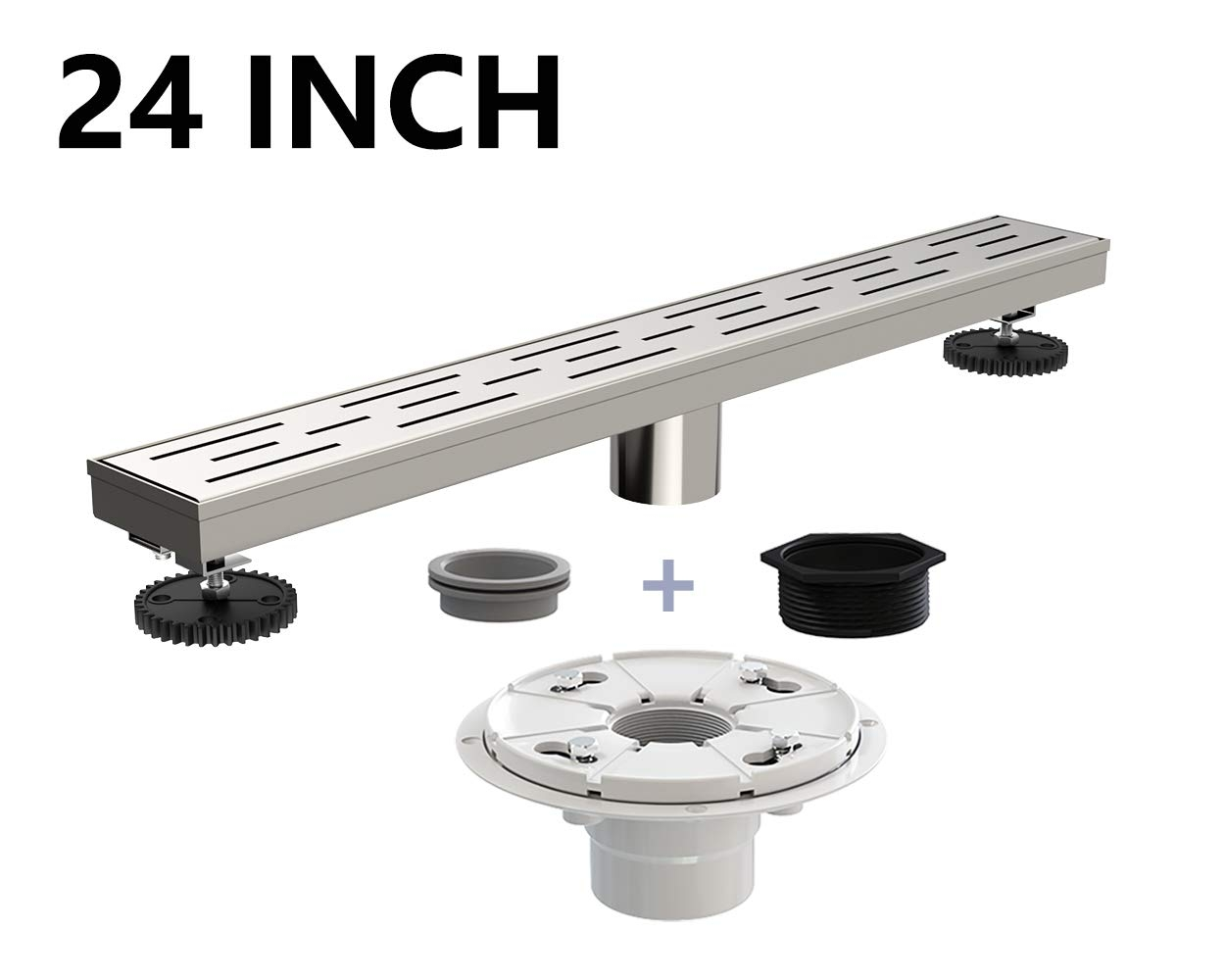 Juno 24 Inch Rectangular Linear Drain for Shower with Shower Drain Base Flange, Brick Grate Cover