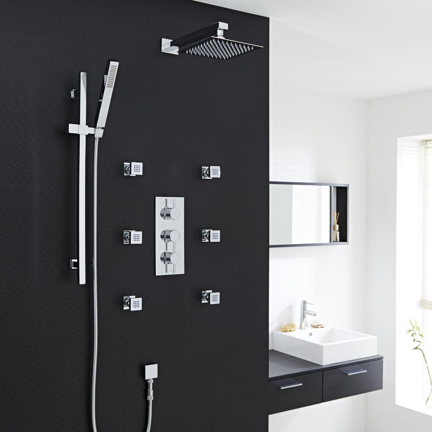 Saint-Étienne Chrome Thermostatic Shower System Set