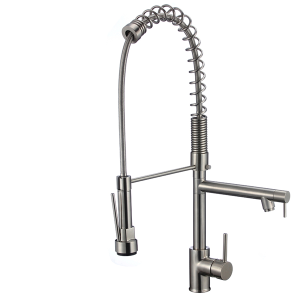 Juno Brushed Nickel Finish Kitchen Faucet with Pull Out Sprayer