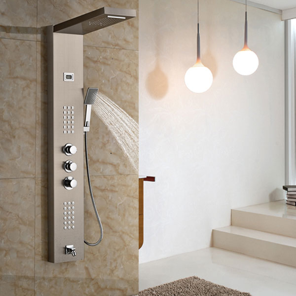 Juno Brushed Nickel Stainless Steel Contemporary Bath Shower Faucets