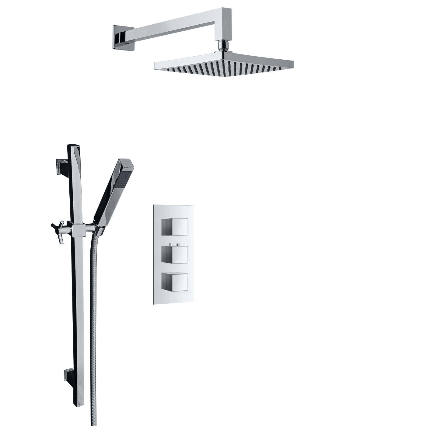 Juno Chrome Plated Wall Mount Shower Head Set