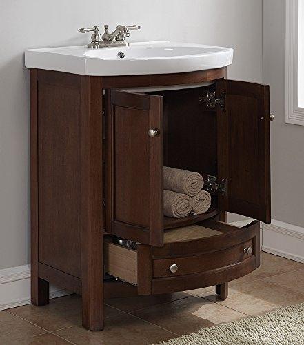 "Juno Classic Style 24"" Wide Brown Walnut Bathroom Vanity Set"
