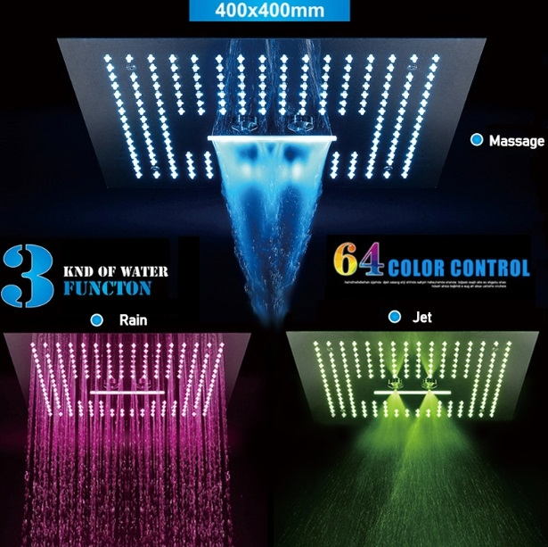 """Juno Contemporary Square 16"""" Brushed Nickel Stainless Ceiling Remote Control LED Showerhead"""