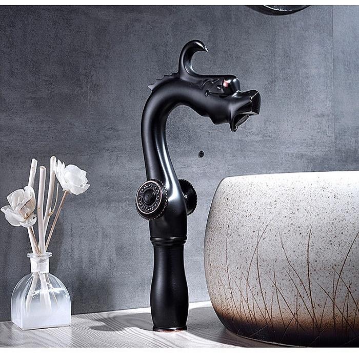 Juno Dragon Black Oil-Rubbed Contemporary Dual Handle Bathroom Faucet