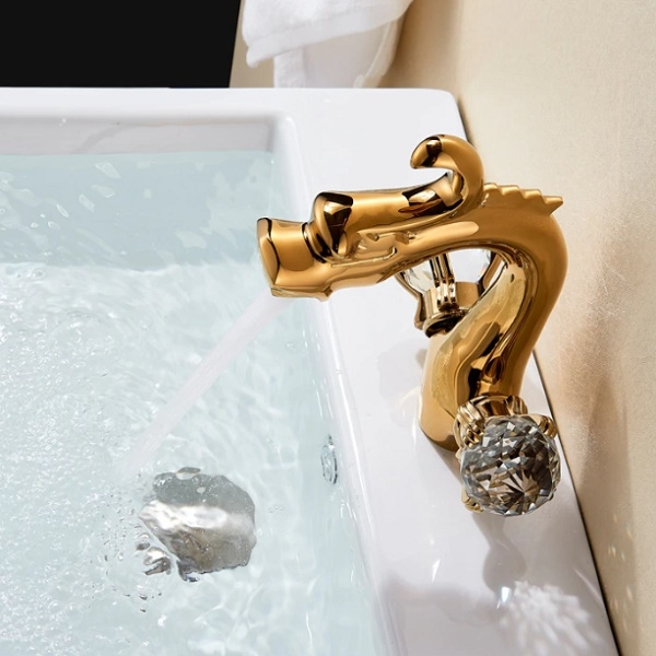Juno Dragon Deck Mount Crystal Handle Faucet