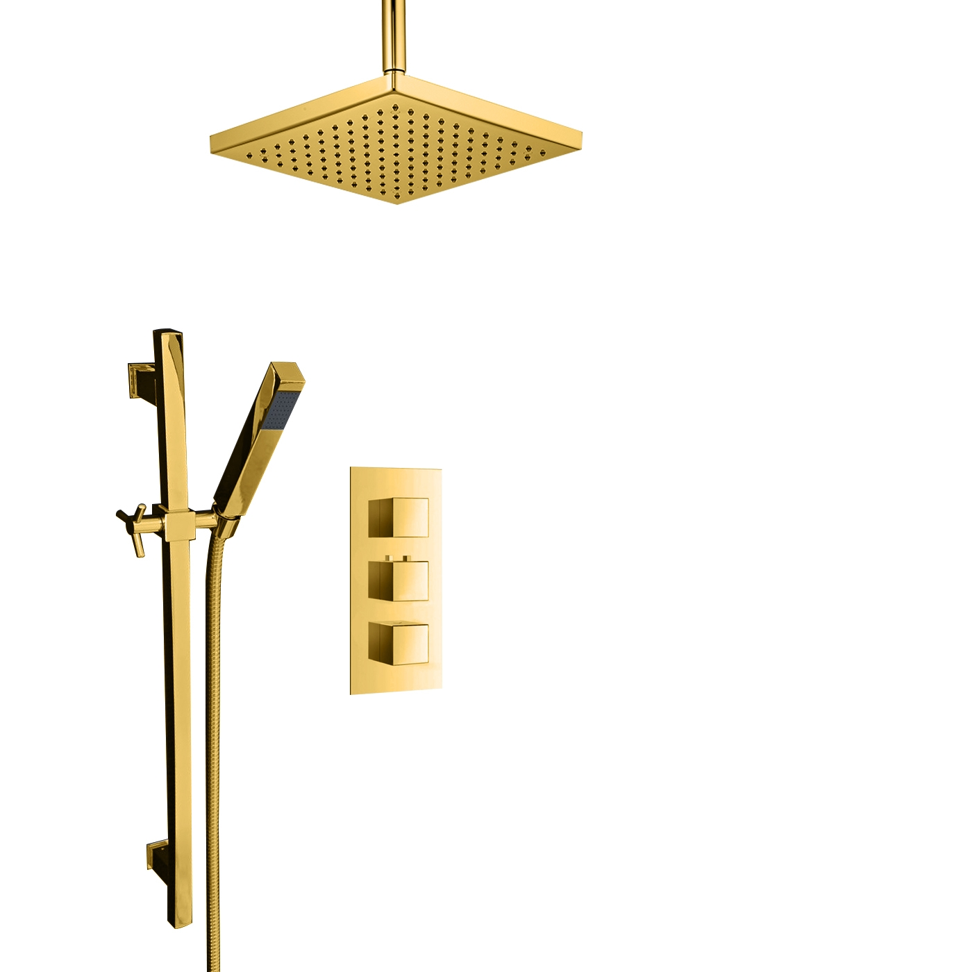 Juno Gold Plated Ceiling Mount Square Shower Head Set