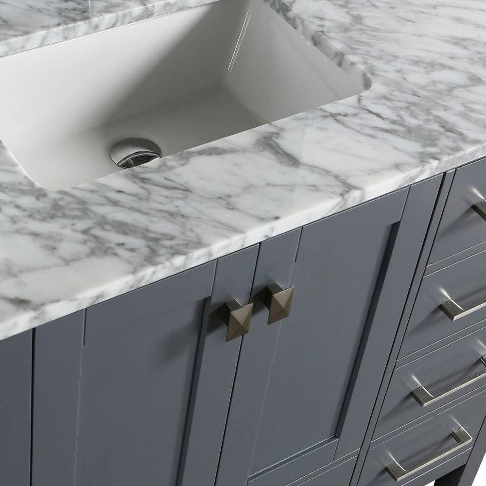 Juno Gray 48 Inch Bathroom Single Sink Vanity Set With Marble Countertop