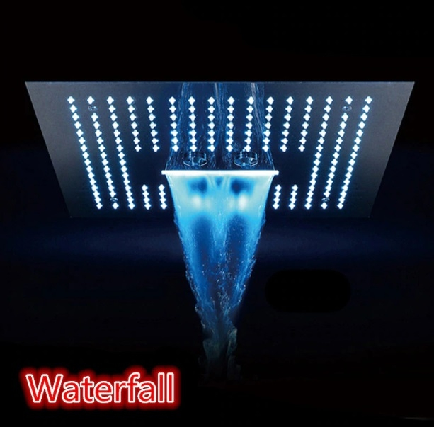 "Juno Square 16"" Stainless Steel Ceiling Remote Control LED Showerhead"