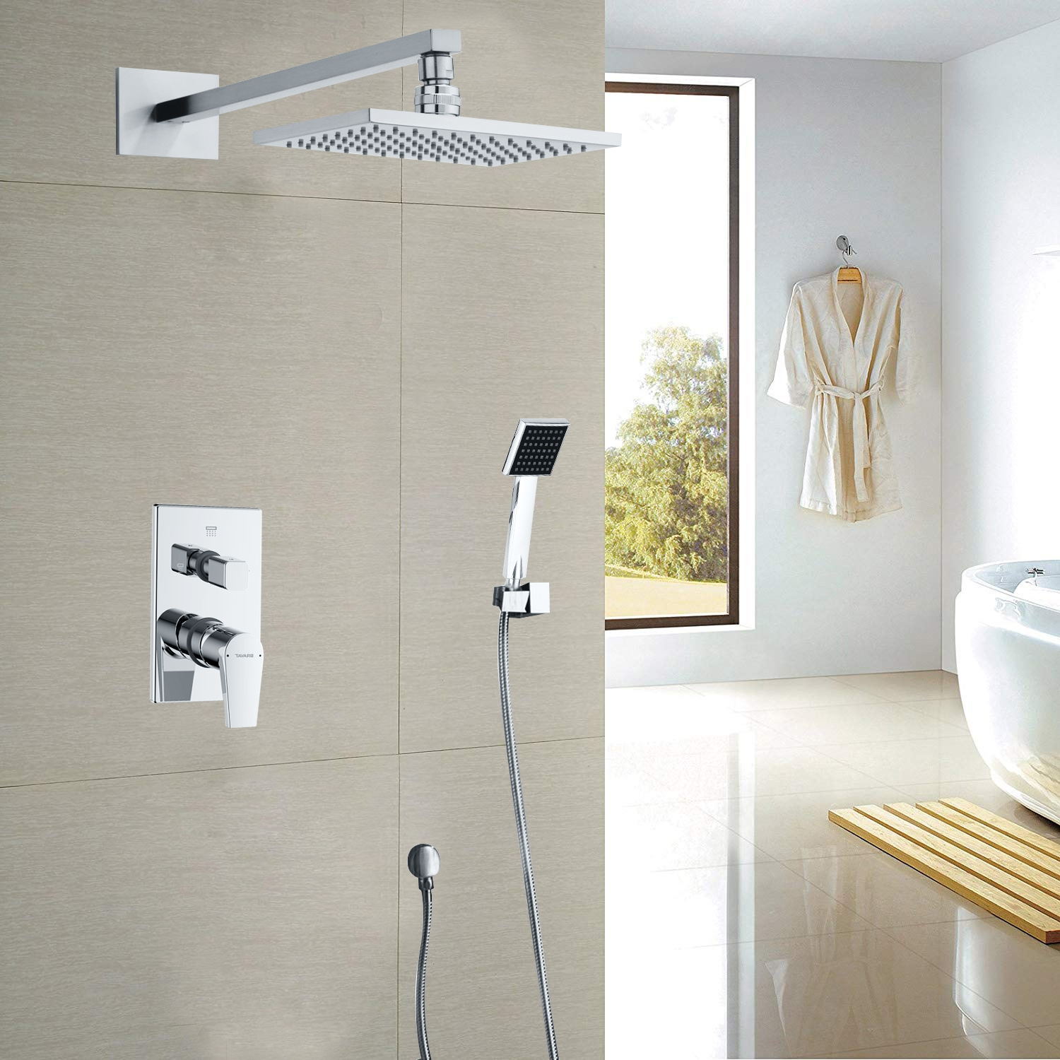 Juno Chrome Square Shower Head