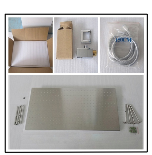 Juno Stainless Steel Rectangle Brushed Nickel Rainfall Ceiling Shower