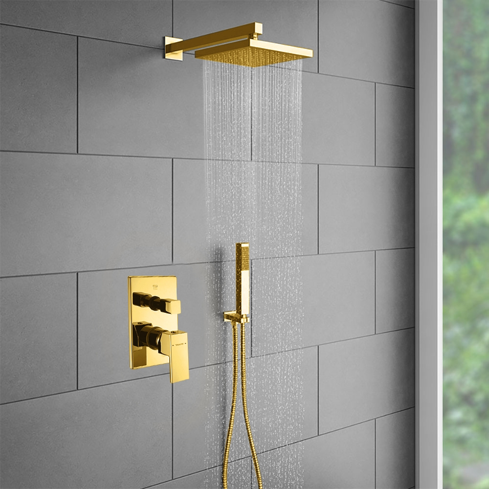 Juno Wall Mount Gold Shower Head Set