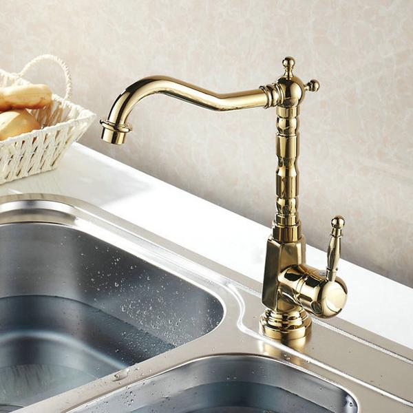 Gold Chrome Finish Kitchen Faucet