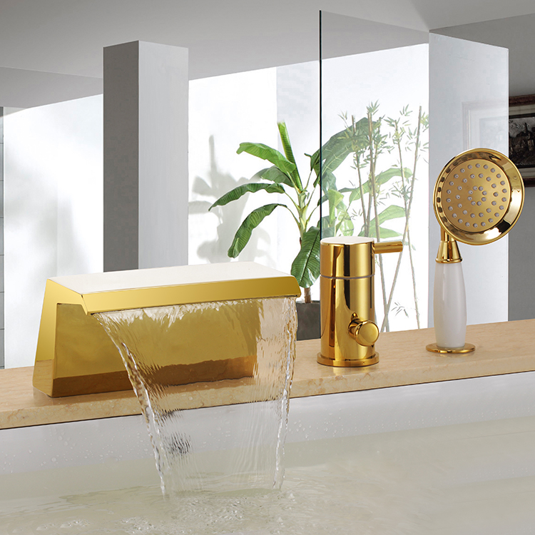 Gold Single Handle 3 Piece Roman Waterfall Bathroom Faucets
