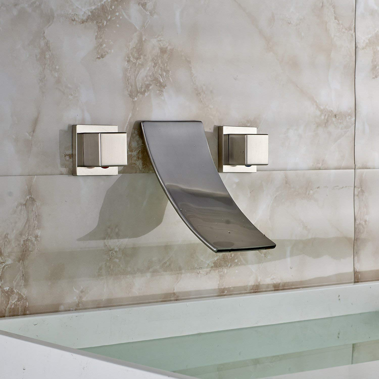 Kayla Widespread Bathtub Waterfall Faucet Brushed Nickel