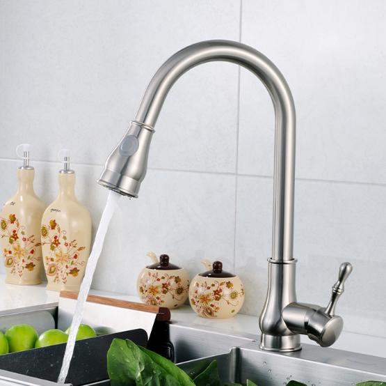 Brushed kitchen sink faucet