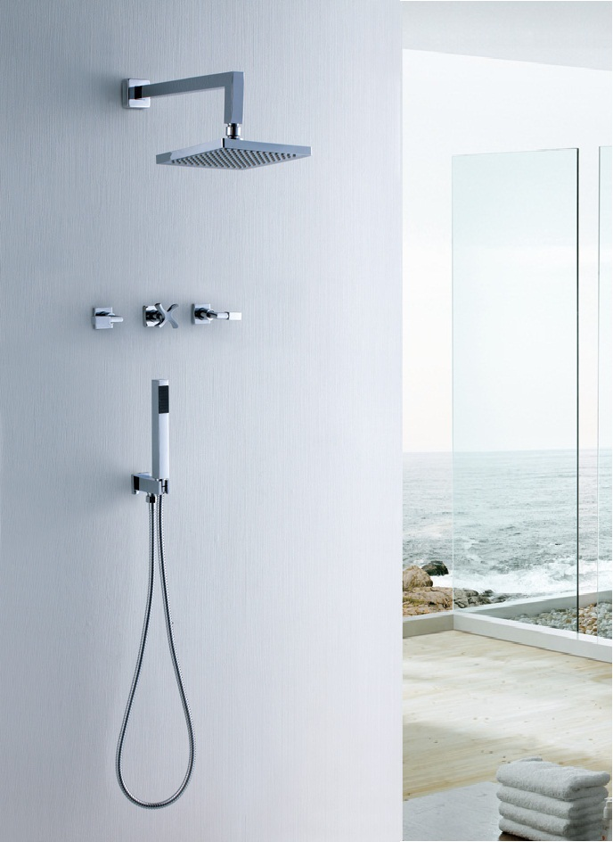 Wall Mount Waterfall Shower Head with Hand Shower hose and Water Mixer