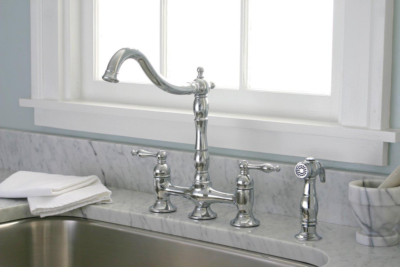 Juno La Paz Dual Handle Bridge Kitchen Faucet With Spray