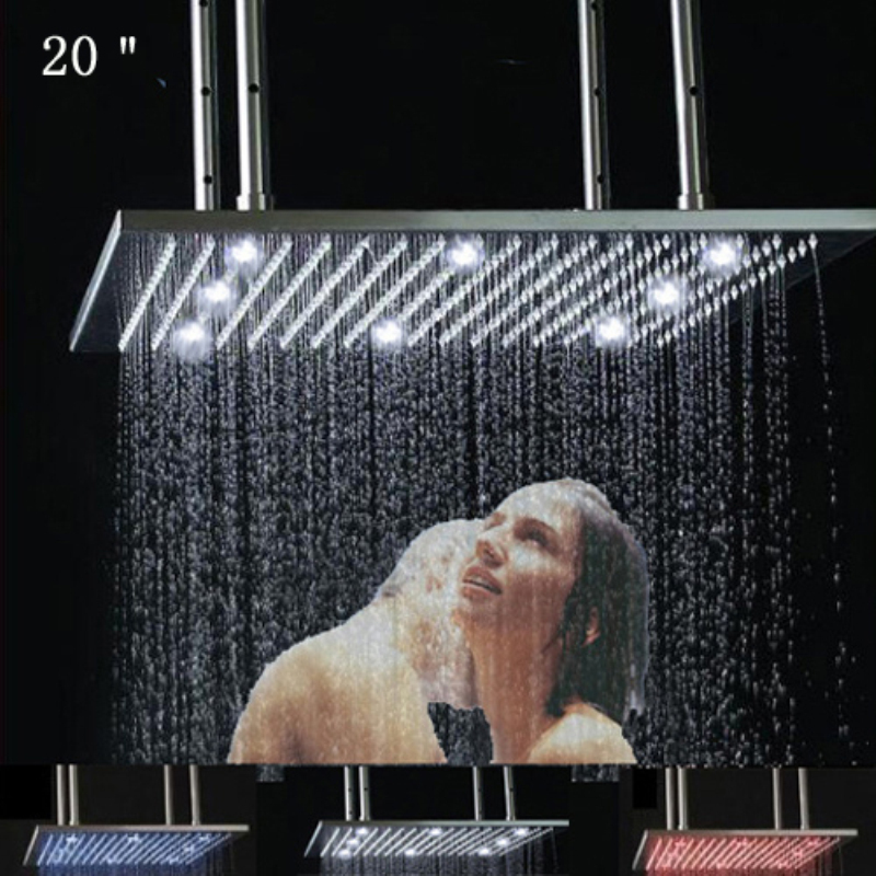 gold rain shower head.  20 Square Brushed Stainless Steel LED Rain Shower Head